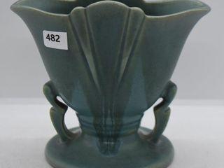 Roseville Carnelian I 51 5  fan vase  blue drip