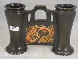 Roseville Rosecraft Panel 6 5  dbl  bud vase  dark brown
