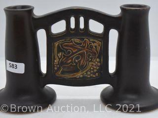 Roseville Rosecraft Vintage 48 4 5  dbl  bud vase  brown