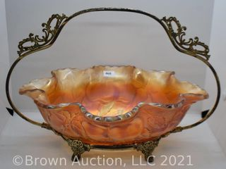 Carnival Peach and Pear Bride s bowl and silver holder  marigold