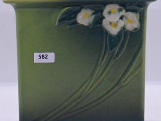 Roseville Mock Orange 981 7  pillow vase  green