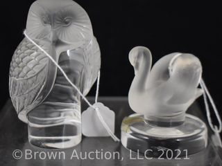 2  Mrkd  lalique crystal figurines