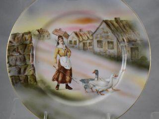 Royal Bayreuth 8 5 d Goose Girl plate  blue mark