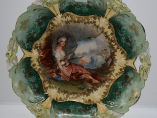 RSP  mrkd  Germany Royal Suhl  lily Mold 9 5 d cake plate with Diana the Huntress