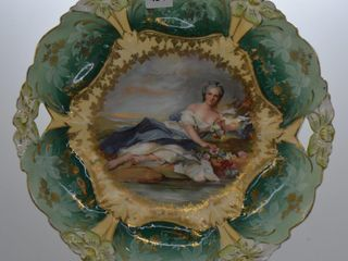 RSP  mrkd  Germany Royal Suhl  lily Mold 9 5 d cake plate with Flora center