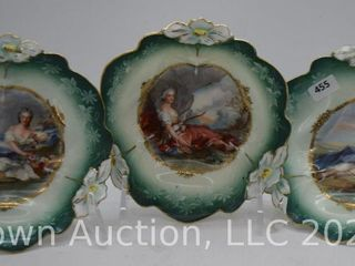 3  R S  Prussia lily Mold 5 5  berry bowls featuring Flora and Diana the Huntress portraits