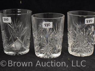 3  American Brilliant Cut Glass Tumblers