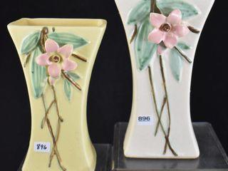 2  McCoy Blossom Time 8  vases