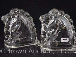 Pr  Federal Glass horse bookends