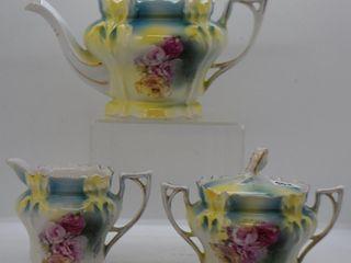 R S  Prussia Iris Mold 3 pc  tea set  red mark
