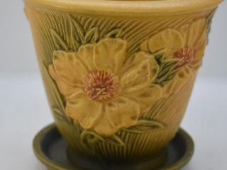 Roseville Peony 662 5  flower pot with saucer  yellow