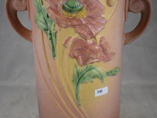 Roseville Poppy 877 12  vase  pink