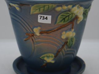 Roseville Snowberry 1PS 5  flower pot saucer  blue