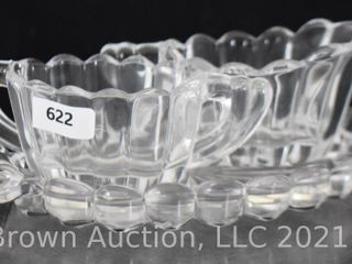 Mrkd  Heisey Crysolite 1 5 h creamer and sugar set with under tray