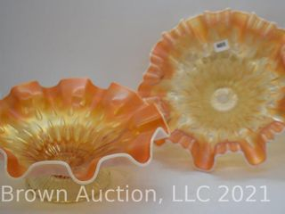 2  Carnival Raindrops Keyhole peach opal  dome ftd  bowls
