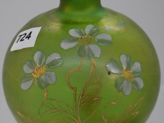 Art Glass irid  green 4 h cabinet vase