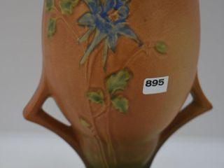 Roseville Columbine 22 9  vase  brown