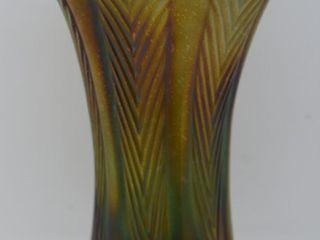 Carnival Plume Panels 6 5  vase  green