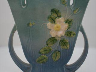 Roseville White Rose 987 9  vase  blue
