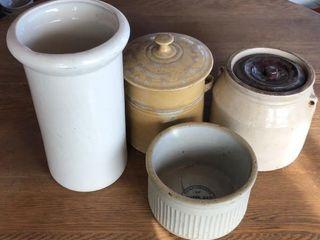 4  Stoneware Crocks