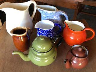 2  Tea Pots   5  Pitchers