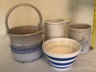 4  Stoneware Bowls and Pitchers