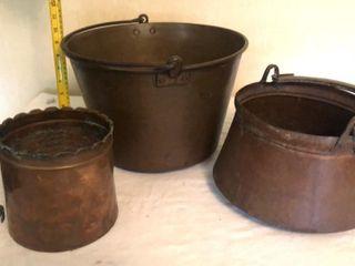 3  Copper Pots Cauldrons