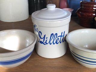 2  Blue Band Stoneware Bowls and Crock