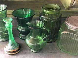 6  Green Glass Vases  Bowls  Jars