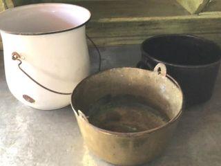 Enamel  Brass  and Metal Buckets