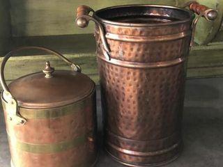 Copper Ice Bucket and Handled Bucket