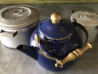 Blue Metal Teapot and Tin Pails