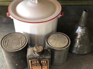 Vintage Tins  Funnel and Enamel Bucket
