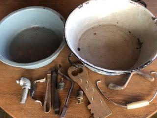 2 large Enamel Basins  Assorted Tools