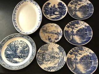 8  Blue China Plates