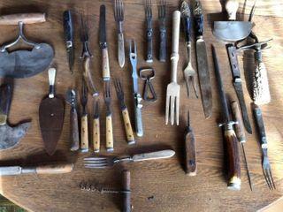 Antique Forks  Knives  Antler Handles