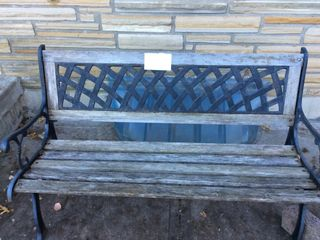 Wood   Wrought Iron Bench