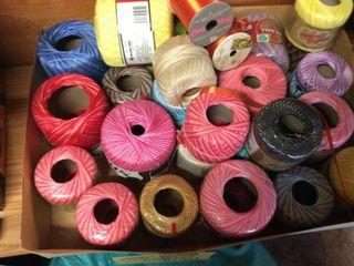 large Box of Crochet Thread On Spools