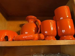 Orange Set with 3 entire shelves of glass ware