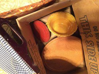Gold Orange Pottery with Spinner Shelf