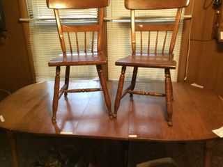 large Maple Wood w  leaf and 4 Chair Set
