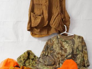 lot of Hunting Items   Hunting Vest  large  Camo Face Shield  Hunting Hats and leather Game Strap  etc