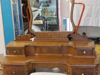 Very Pretty Vintage Vanity with Mirror and Stool  See Photos