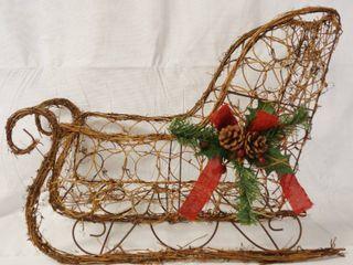 Christmas Sleigh   Metal   Wicker