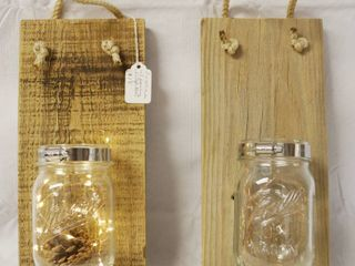 Set of 2  Pint  Mason Jar Sconce   lighted   Mounted on Barn Wood  Hanges on Wall