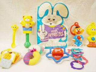 lot of Toys   Baby Rattles   Book   Childs Book  Plastic    Sesame Street   Ernie   Big Bird  etc