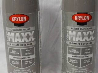 Krylon Indoor Outdoor Spray Paint   Classic Gray  Gloss   Maxx Ultimate Coverage  Easy Push Spray Tip  for Metal  Wood  Plastic   More