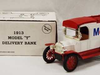 Collectible 1913 Model  T  Delivery Bank    Mobil    Die Cast Metal   locking Coin Bank w Key