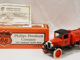 Collectible Phillips 66   1931 Hawkeye Tanker Bank   Die Cast Metal  locking Coin Bank w Key
