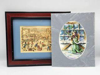 1971 Anton Pieck Framed Print and 1988 lolli Girl Caroler Print